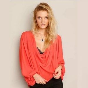 Free People Coral Pink Cowl Neck Drape Blouse Top